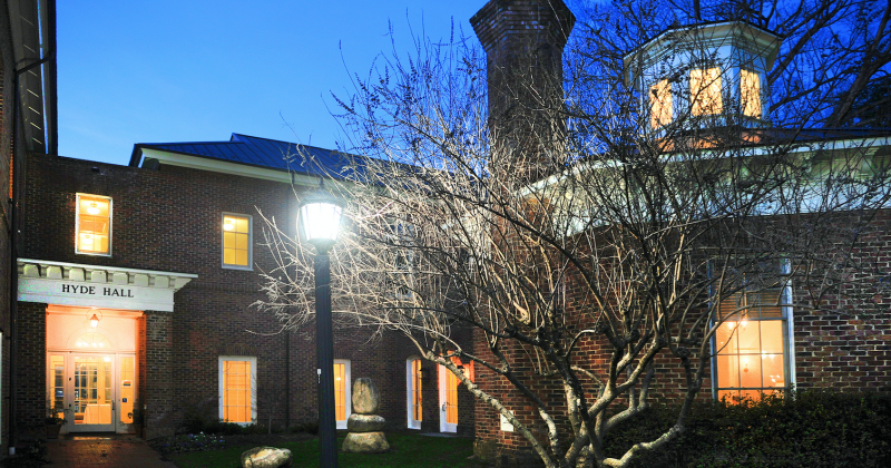 Hyde Hall at night