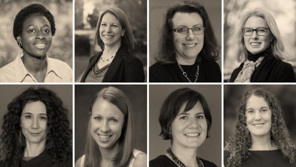 Collage of Academic Leadership Fellow portraits. From top left: Priscilla Layne, Stefanie Ferreri, Kelly Giovanello, Lauren Leve, Michal Osterweil, Sarah Treul Roberts, Gabriela Valdivia, Ariana Vigil.
